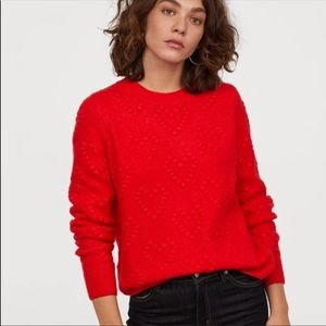 H&M Red Heart Knit Sweater Size Medium